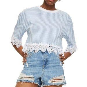NWT TOPSHOP Stripe Lace Hem Crop Shirt